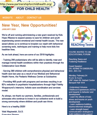 Partnership for Child Health monthly newsletter for January 2020